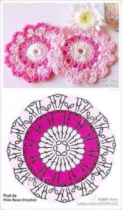 posavasos con gráfico en crochet