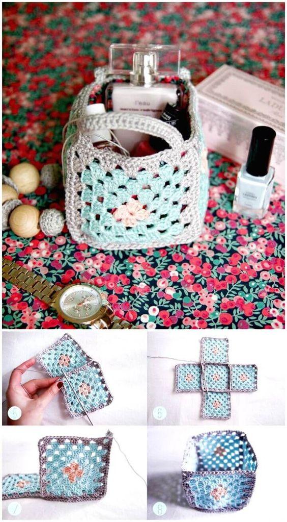 cestos de crochet