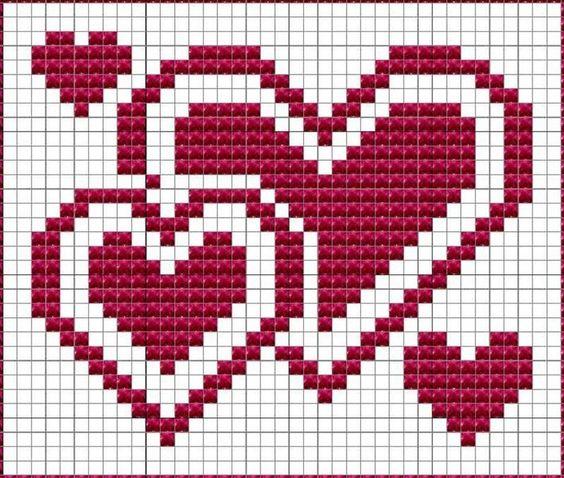 gráficos corazones crochet