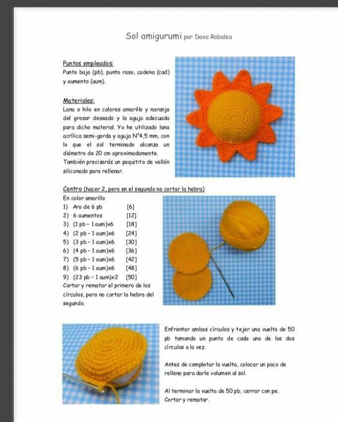 patrón sol crochet castellano