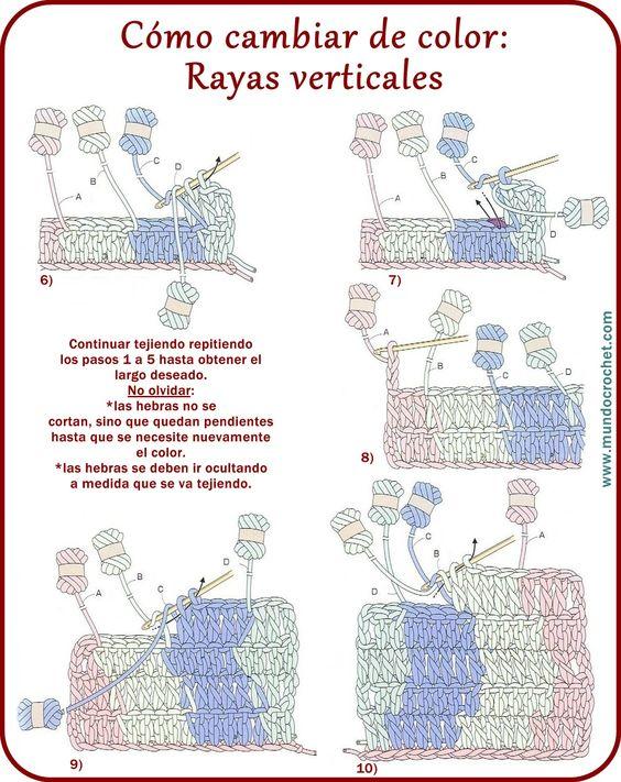 Como cambiar de color en crochet y no morir en el intento